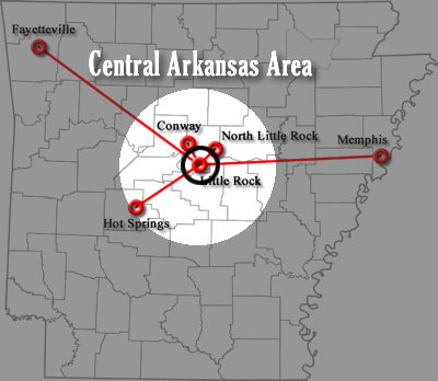 Central Arkansas Area Map