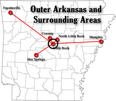 Outer Arkansas and Surrounding Areas Map